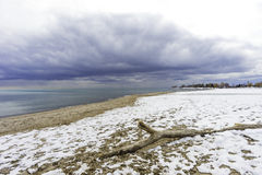 Wide angle view of driftwood on snow covered beach, approaching. Wide angle view of driftwood on snow covered winter beach with approaching storm clouds Royalty Free Stock Photography