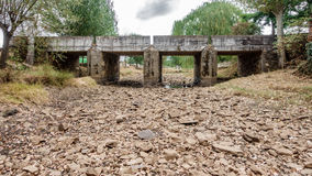 Drought river and bridge Royalty Free Stock Photos