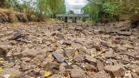 Drought river burst and bridge Stock Photo