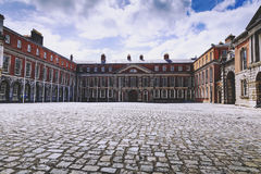 Wide angle view of Dublin Castle`s courtyard in Ireland. DUBLIN, IRELAND - July 15th , 2017: Wide angle view of Dublin Castle`s courtyard in Ireland Royalty Free Stock Image