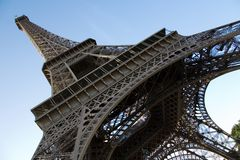 Wide angle view of the Eiffel Tower Stock Photos