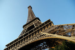Wide angle view of eiffel tower. Low, wide perspective of eiffel tower in paris Royalty Free Stock Images