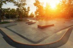 Empty skatepark in the morning stock photos
