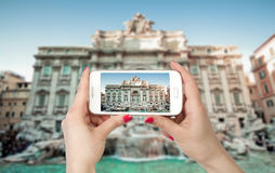 Wide angle view of The Famous Trevi Fountain, rome Stock Photos