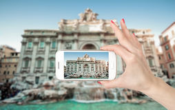 Wide angle view of The Famous Trevi Fountain, rome Royalty Free Stock Photo