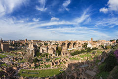 Wide angle view of the Forum Romanum Royalty Free Stock Photo