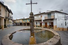 Guadalupe vintage streets with fountain wide angle Royalty Free Stock Image