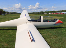 Wide Angle View of Glider Wing Stock Image