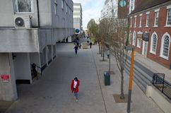 Wide Angle view of the High Street and Pedestrians in Bracknell, England Stock Photo