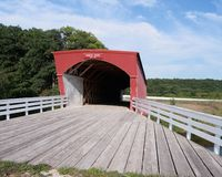 Wide angle view Hogback Bridge Madison County Iowa Stock Photo
