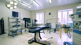 Wide angle view of a hospital gynecological room with an examination chair in it. General view of a hospital gynecological room with an examination chair in it stock video footage