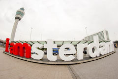 Wide angle view of the I am Amsterdam sign Royalty Free Stock Photography