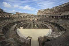 Rome / Italy - April 23 - 2015 : Wide angle interior view of Colosseum royalty free stock photography