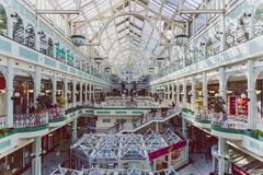 Wide-angle view of the interior of Stephen`s Green shopping cent. DUBLIN, IRELAND - April 14th, 2018: wide-angle view of the interior of Stephen`s Green shopping Stock Photo