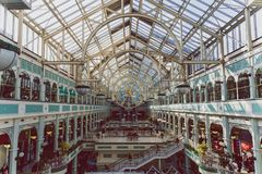 Wide-angle view of the interior of Stephen`s Green shopping cent. DUBLIN, IRELAND - April 14th, 2018: wide-angle view of the interior of Stephen`s Green shopping Stock Photos