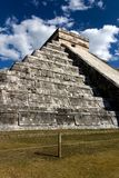 Wide-Angle View of Kukulkan Pyramid at Cichen Itza Royalty Free Stock Photos