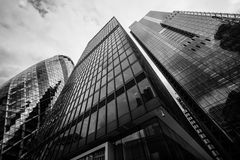 Wide angle view of London Skyscrapers. Royalty Free Stock Image