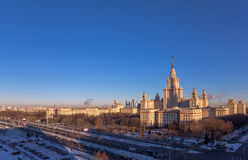 Wide angle view of main building of morning Moscow State University in sunny winter Royalty Free Stock Image