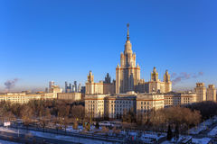 Wide angle view of main building of morning Moscow State University in sunny winter Royalty Free Stock Photography