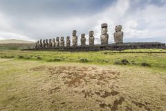Wide angle view of the 15 moai of Tongariki stock photos