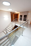 Modern staircase. Wide angle view of a modern staircase in elegant apartment building Stock Images