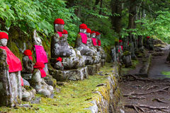 Wide angle view of moss covered statues of Jizo in Nikko, Japan. Front view Royalty Free Stock Photos