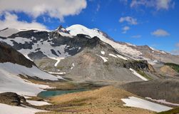 Wide angle view of Mount Rainier and Emmons glacier Royalty Free Stock Image