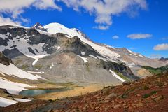 Wide angle view of Mount Rainier and Emmons glacier Stock Image