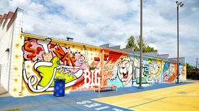 Wide Angle View of Mural at Grizzlies Community Court in Memphis, Tennessee. Royalty Free Stock Photos