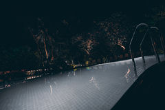 Wide angle view of night outdoors swimming pool Stock Images
