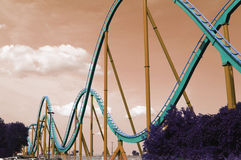 Wide angle view roller coaster track Royalty Free Stock Photography