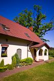 Wide angle view of rural residence in Poland stock images