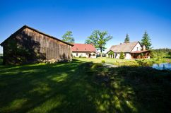 Wide angle view of rural residence in Poland royalty free stock photos