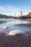 Wide Angle View of the San Francisco Bay with Golden Gate Bridge in the background Stock Photo
