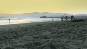 Wide Angle View of Santa Monica Beach stock video footage