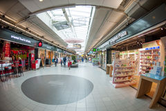 Wide angle view of Schiphol shopping plaza Royalty Free Stock Image