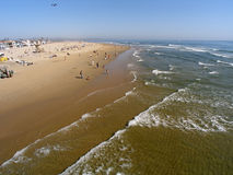 Wide angle view of sea and shore stock images