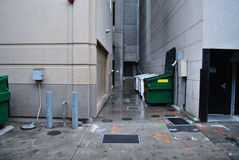 Wide Angle View of service alley intersection Stock Images