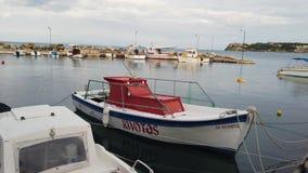 Boats in port near Tsilivi beach. Wide angle view of the small private boats moored in port near Tsilivi beach in summer, Zante Island, Greece stock video