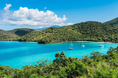 Wide angle view of St. Johns bay. Wide angle view of a small secluded bay on the island of St. Johns in the Caribbean Stock Image