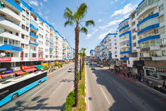 Wide angle view of street in Antalya, Turkey Royalty Free Stock Photography