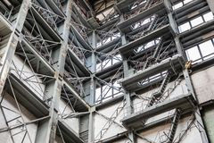 Wide Angle View Of A Tall Industrial Building stock image