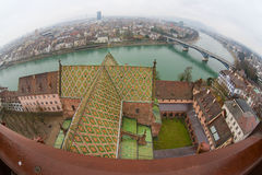 Wide angle view to Basel city from Munster tower on a rainy day in Basel, Switzerland. Stock Photos