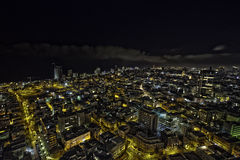 Tel-Aviv Night Cityscape. A wide angle view to the north showing part of the Tel-Aviv cityscape, the largest metropolis in Israel, at night time Stock Photo