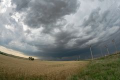 Wide angle view of a tornadic supercell over the plains of northwestern Oklahoma stock images