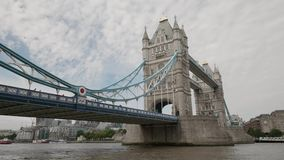 Wide angle view of the Tower Bridge in London. UHD 4K stock video