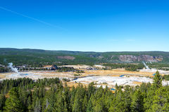 Wide Angle View of Upper Geyser Basin Royalty Free Stock Photo