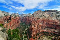 Wide angle view of Zion Canyon royalty free stock photos