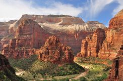 Zion Canyon and the virgin river royalty free stock photography