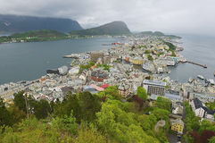 Wide angle wiew to the Alesund city on a cloudy summer day in Alesund, Norway. Stock Photography